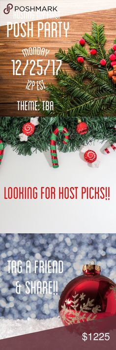 Christmas Day Posh Party! I'm very excited to announce that I'll be hosting a Category Themed Posh Party on 12/25 at 12pm Est!   I'll be looking for HOST PICKS as soon as the theme is chosen!   So join me Christmas afternoon for great host picks, style, & fun! UGG Sweaters