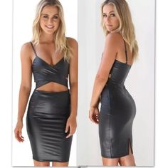 """Sexy faux leather Bodycon dress❤️ Absolutely sexy faux leather Bodycon dress. Comes in color black. It is a dress that has a very sexy cutout design in front of dress around waist area. The dress zips up from the back and also comes with padded bra. The material is a bit elastic so is super flexible and comfortable. V-neck line, knee length and spaghetti strap. Made out of polyester material. Measurements: large: BUST:35-38"""" WAIST:28-29 HIP:36-38"""" LENGTH: 33"""" HEM: 34"""" ❤️❤️❤️ Dresses Midi"""