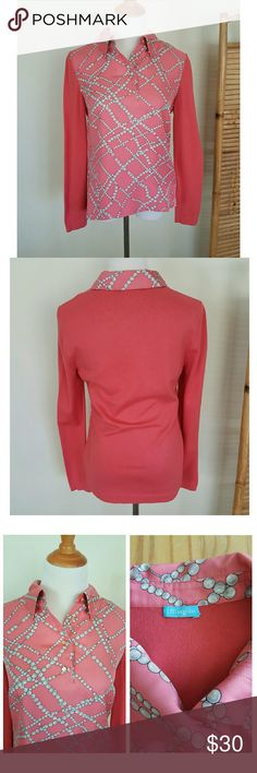 "J. Mclaughlin pink top This pink top features cotton/modal sleeves and a silk center panel with a string of pearls print.   This top is fresh from the dry cleaners and is in good used condition. There are some tiny pulls in the silk portion, which I don't think affects the appearance.  (See 4th pic)  Measurements are approximately; Bust across 18"" Length 24""  It's a size L, but the size tag fell off. I typically wear a medium, and this is a little big on me, but still fits comfortably. J…"