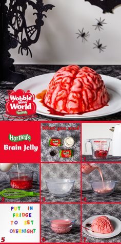 Brain Jelly: You don't have to be a mad scientist to create this gruesomely tasty Halloween jelly. All you need is some Hartley's Strawberry Jelly Cubes, double cream, red food colouring and a 'brain' mould to make this deliciously evil dessert a reality. Genius! Click on the image to find out how to make this terrifying treat!