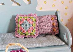 Itty bitty dollhouse crochet cushions!