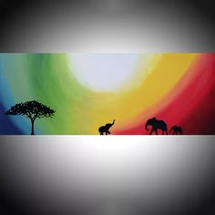 "original abstract landscape impasto ""elephants of Rainbow Sun"" africa animal painting art canvas - 48 x 20 "" Acrylic painting by Stuart Wright"