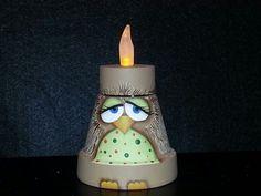 Owl Terra cotta painted pot