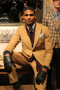 camel-colored suits