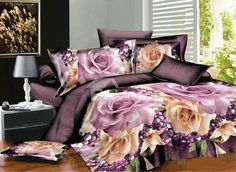 Fabulous 3D Rose Print 4-Piece Polyester Duvet Cover Sets