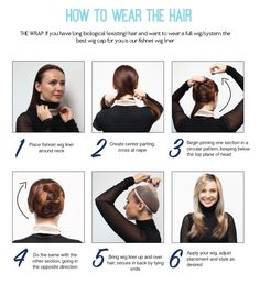 How to properly wrap your hair for maximum wig security. Source by jonrenau Braided Hairstyles Updo, Down Hairstyles, Wedding Hairstyles, Hair Curling Tutorial, How To Wear A Wig, Jon Renau, Heatless Curls, Best Wigs, Costume Wigs