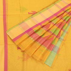 Marm Saffron Yellow Handwoven Chanderi Silk Cotton Saree with Tree Motifs Tissue Zari Ganga Jamuna Border 10002343 - AVISHYA