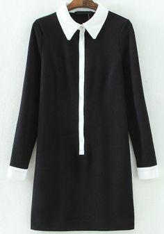 Vestido contraste solapa manga larga-negro 21.25