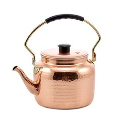 Old Dutch International 875 Hammered Copper Tea Kettle with Bakelite Handle, 2 Qt. Electric Stove, Gas And Electric, Stainless Steel Kettle, Copper Tea Kettle, Girly, Hammered Copper, Copper Pots, Traditional Decor, Decoration
