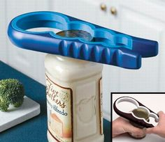 Easy Twist Jar Opener  ~    The rubber grips onto the lid as the soft handle cushions your hand and absorbs pressure. Open any size jar effortlessly! [link]