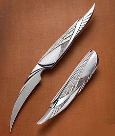 Unique Knives, Cool Knives, Swords And Daggers, Knives And Swords, Fantasy Armor, Fantasy Weapons, Pretty Knives, Armas Ninja, Cool Swords