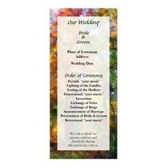 Autumn Woods Wedding Program by Susan Savad -- Autumn wedding program that you can customized yourself.  #wedding  #weddingprogram #weddingprograms #gettingmarried #customize #autumn #fall   $0.55  per card   BULK PRICING AVAILABLE!
