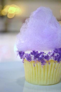Vanilla Velvet Purple Cotton Candy Cupcake
