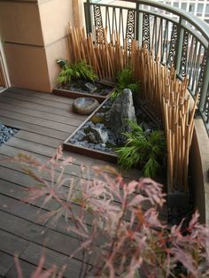 balcony design decorative bamboo poles privacy screen panel natural stones