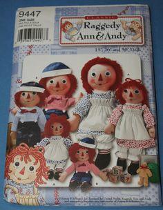 Nouvelle simplicité Raggedy Ann et Andy Doll modèle par jrsherwood, $3.95
