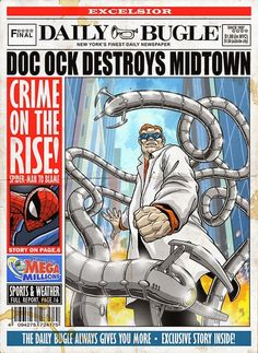 Check out this awesome art series featuring many of Spider-Man's classic  villains gracing the front page of The Daily Bugle. The art was created by  Phil Postma, and the characters here include Venom, Doc Ock, Vulture,  Electro, Rhino, Scorpion, Mysterio, Kraven, Green Goblin, Sandman, Lizard,  and Black Cat.