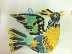 Mark Hearld; Collage mobile bird cards Collage Artwork, Collage Artists, Collages, Zentangle, Bird Graphic, Nature Sketch, Bird Crafts, Bird Sculpture, Big Bird