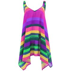 Plus Size Rainbow Striped Spaghetti Strap Top (48 BRL) ❤ liked on Polyvore featuring tops, purple plus size tops, womens plus size tops, plus size tops, womens plus tops and purple top