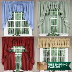 𝗡𝗲𝘄 𝗔𝗱𝗱𝗶𝘁𝗶𝗼𝗻𝘀 Welcome in the warmer days with the new Stacey Ruffled Valances, Swags and Tiers by Ellis Curtains, available in 4 bright colors. In Stock and Ready to Ship. Orders placed before 3:00PM EST ship the same day, Coupon Code promotions available for additional savings #valances #homedecor #countrycurtain #curtains Ruffle Curtains, Valance Curtains, Country Kitchen Curtains, Curtains For Sale, Valances, Kitchen Styling, Quilt Making, Country Style, Bright Colors