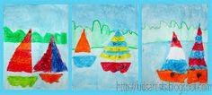 Zeilen op het water Doel: Een grondlijn of horizon in een tekening hanteren.