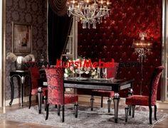 Set Kursi Makan Jepara Hitam Kombinasi Silver Mewah. Red Dining RoomsLuxury  ...