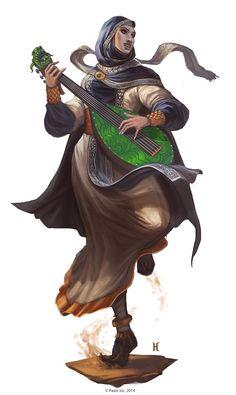Keleshite Female- Pathfinder character art. Bard