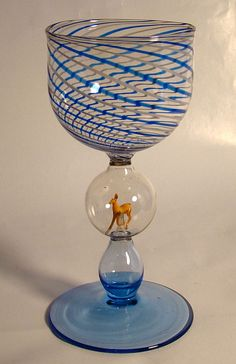 Bimini Wine Glass with Double Bubble Stem and Featuring Miniature Deer – Circa: 1920's