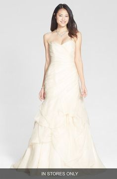 BLISS Monique Lhuillier Draped Silk Organza Trumpet Dress (In Stores Only) available at #Nordstrom