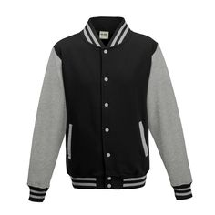 Just Hoods JH043 Jet Black and Heather Grey Varsity Jacket - £19.35