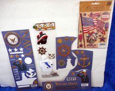 Lot of Scrapbook Embellishments & Stickers  NAVY Theme     TA16