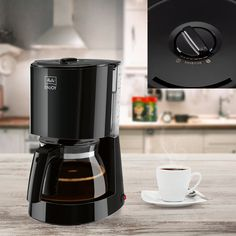Promotie Cafetiera Enjoy II Black Melitta – 70 Lei Reducere de Pret Drip Coffee Maker, Black, Products, Black People, Coffee Making Machine, Gadget