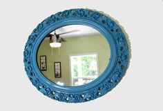 Antique Oval Ornate Blue Wall Mirror Frame