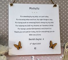 Bridesmaid Wedding Gift Personalised Thank You Poem by AandFCrafts