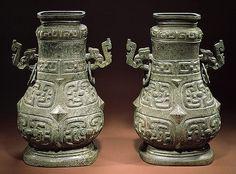 Recipientes rituales de vino con tapa- dinastía Zhou Occidental-finales s. 8º aC principios s.9º aC-China-