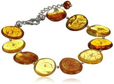 Rhodium Plated Sterling Silver Honey Amber Disc Bracelet, 7.5'   1.5'' Extender -- Insider's special review you can't miss. Read more  : Jewelry