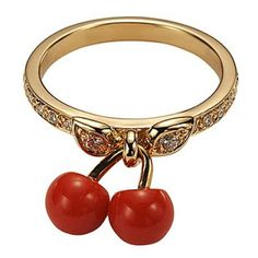 by Dior Dior Jewelry, Red Jewelry, Cute Jewelry, Jewelry Art, Jewelry Rings, Jewelry Accessories, Jewelry Collection, Gold, Cherry Tree