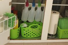 How to sort the under-cabinet space without drilling holes.  Tension rod for the spray bottles (will make my own cleaners), little dish scrubber caddies for dishwashing supplies, bins of dish cloths/microfiber towels, and bins for all other weird cleaners.  If there's extra room left, can store bulk paper towels in here