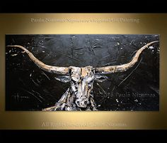 $320 Large Wall Art bull Painting Oil Acrylic on Canvas Large Gift Modern Home Decor animal black golden white