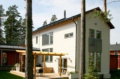 Honka Rock is an urban log home located in a densely populated area, designed for quality living in a sustainable way. Bungalow, Exterior Cladding, Log Homes, Scandinavian Style, Contemporary Style, Finland, Shed, Outdoor Structures, Interior Design