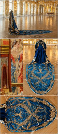 "Court gown belonging to Grand Duchess Xenia Alexandrovna (sister of Tsar Nicholas II), late 19th - early 20th century. Collection of the State Museum ""Tsarskoye Selo."" Photos via the Tsarskoye Selo State Museum-Preserve on Facebook. Detail from Georges Becker's 1888 painting depicting the coronation of Tsar Alexander III and Empress Maria Fyodorovna, May 15, 1883, collection of the State Hermitage Museum (via http://hermitage.guide/costume/costume1.html)."
