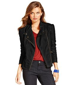 Jessica Simpson Jacket, Trey Faux-Leather Quilted Moto - Jackets & Blazers - Women - Macy's