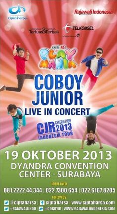 Coboy Junior Live In Concert CJR Generation 2013 Indonesia Tour 19 Oktober 2013 At Dyandra Convention Center – Surabaya (Gramedia Expo)  http://eventsurabaya.net/coboy-junior-live-in-concert-cjr-generation-2013-indonesia-tour/