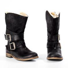 Laima Black Moto Boots MTNG