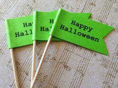 Halloween Flag Cupcake Toppers ~ Halloween Food Picks by StuckOnACloud on Etsy