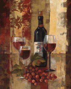 Graffiti and Burgundy Wine II by Silvia Vassileva Contemporary Kitchen Still Life Art Print- 16x20