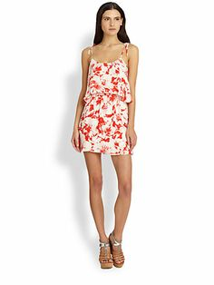 Parker Cara Silk Floral-Print Double-Tiered Dress