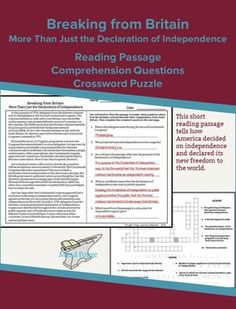 This reading passage gives an brief overview of how the Second Constitutional Congress declared independence from Great Britain.Includes:* 324 word reading passage - Lexile level 1170* comprehension questions* crossword puzzle* all associated answer keysKEY WORDS:  reading comprehension, high school, informational text, Declaration of Independence, Lee's Resolution  nonfiction, reading passage, social studies, American Revolution, Thomas Jefferson, Continental Congress