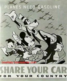 Share Your Car...  Disney, Hank Porter  c. 1943 http://4.bp.blogspot.com/_XOjDUIzHDXw/Riv419r_7gI/AAAAAAAAAU8/yMsAULFD8As/s1600-h/blog+ration+poster.JPG
