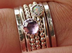 Nadines unique stackable  — Opal & Amethyst Stackable Birthstones Mothers Rings - Personalized Rings