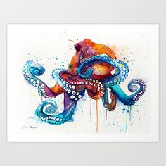 Octopus Art Print by Slaveika Aladjova. Worldwide shipping available at Society6.com. Just one of millions of high quality products available.